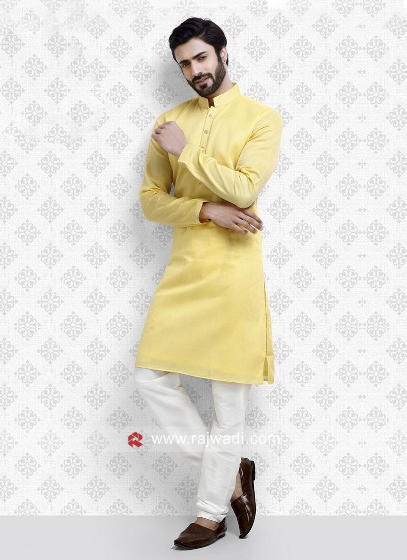 Art Silk Fabric Yellow Color Kurta Pajama