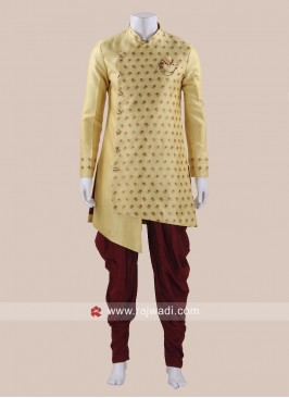 Art Silk Fabric Yellow Patiala Suit