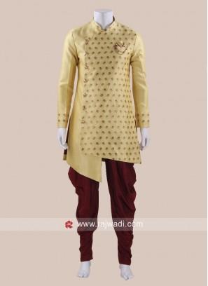 Art Silk Fabric Yellow Patiala Suit