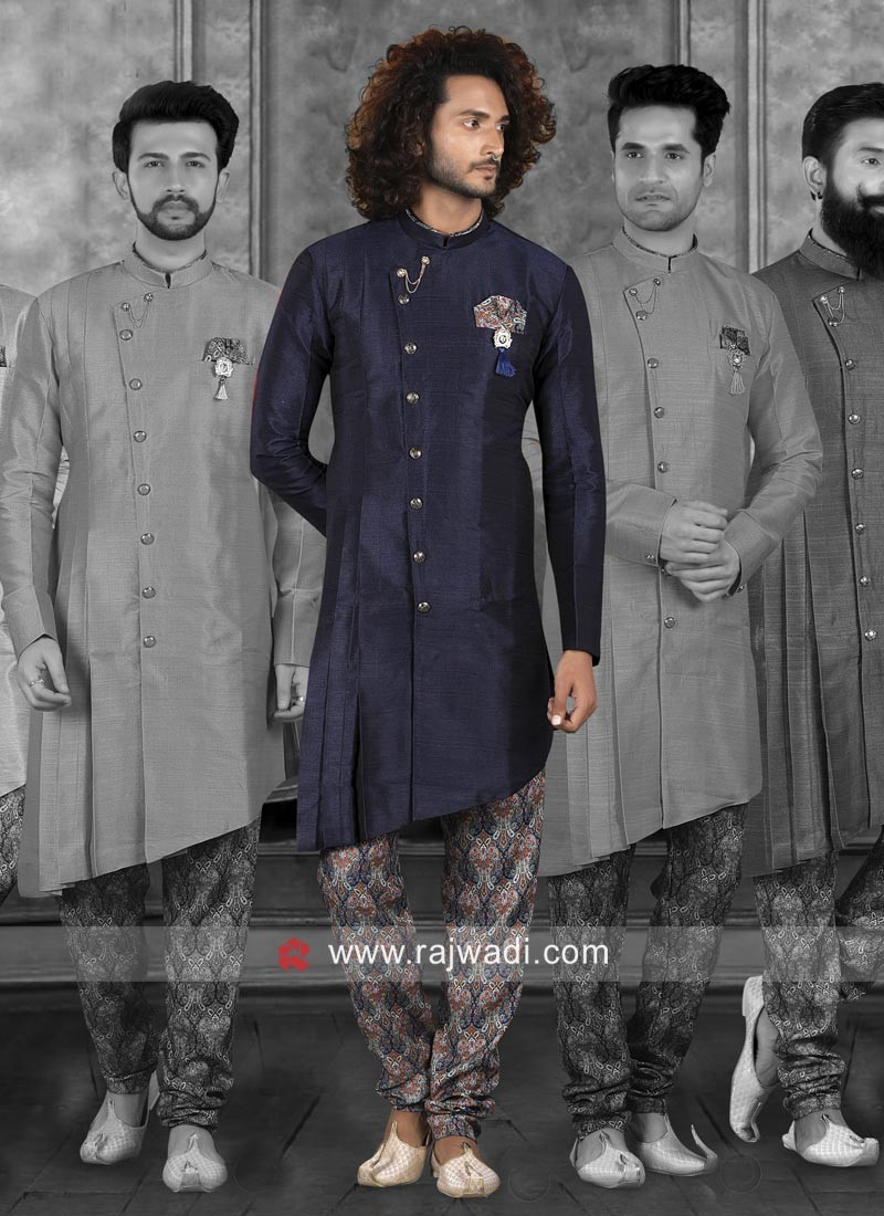 Art Silk Fabric Navy Indo Western