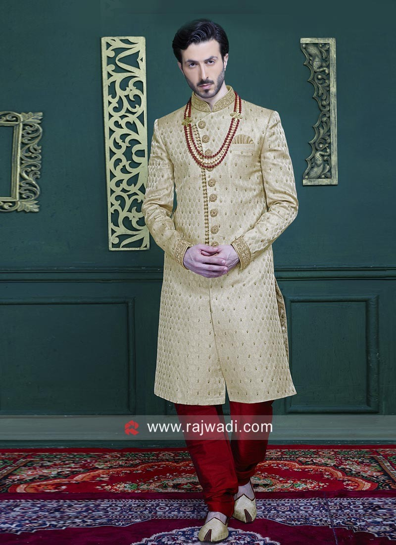 Brocade Silk Fabric Zari Work Indo Western
