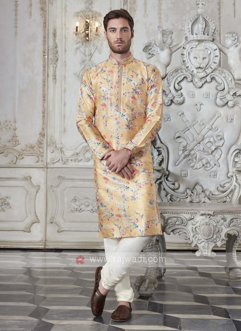 Art Silk Floral Printed Rust Kurta Pajama