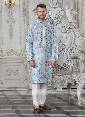 Art Silk Floral Printed Sky Blue Kurta Pajama
