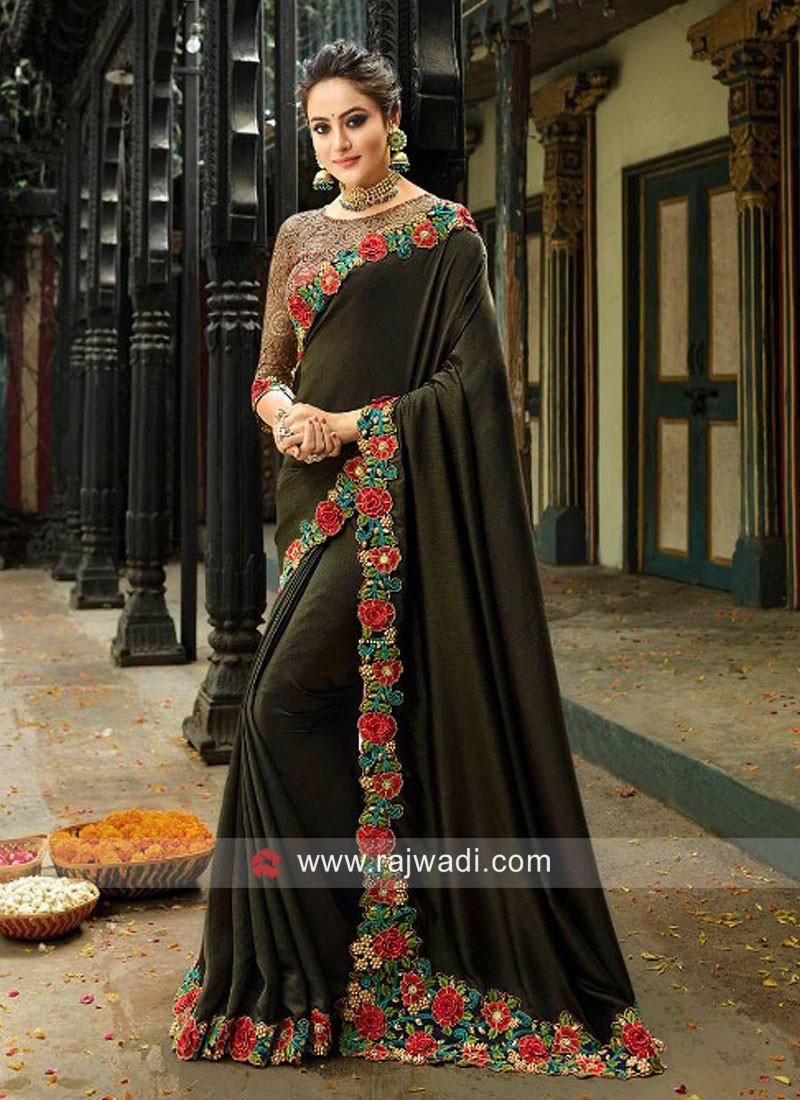 Art Silk Flower Border Work Saree