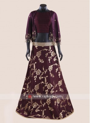 Art Silk Flower Print Lehenga with Crop Top