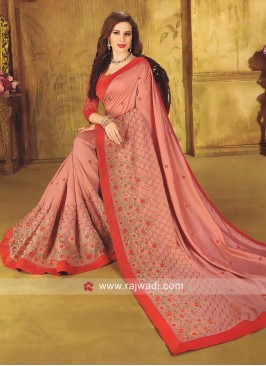 Art Silk Flower Work Saree