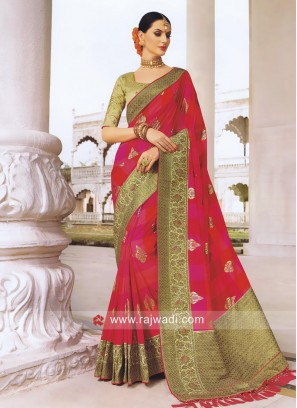 Art Silk Foil Print Saree with Brocade Border