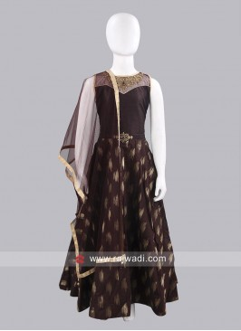 Art Silk Girls Anarkali Dress