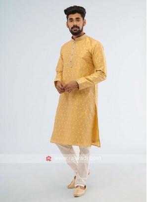 Art Silk Golden And Off-White Color Kurta Pajama