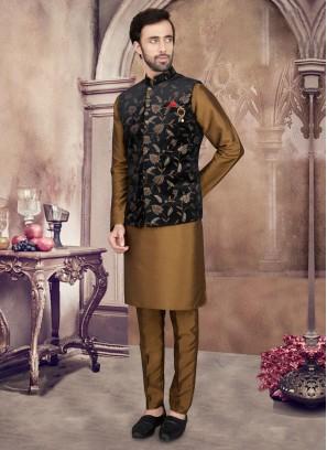 Art Silk Golden Brown And Black Color Nehru Jacket Set.