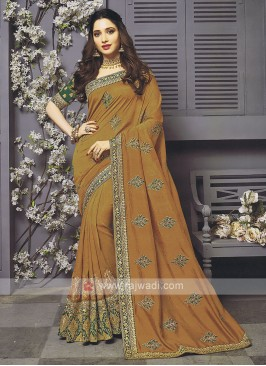 Art Silk Golden Brown Designer Saree