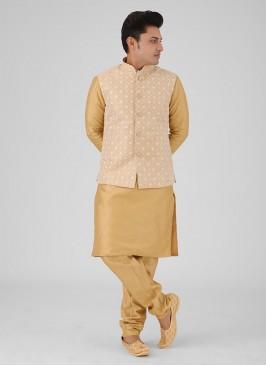 Art Silk Golden Color Nehru Jacket