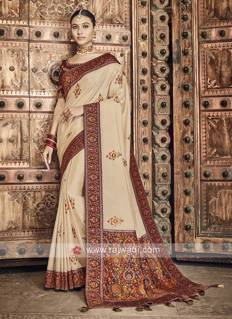 Art Silk Golden Cream Saree