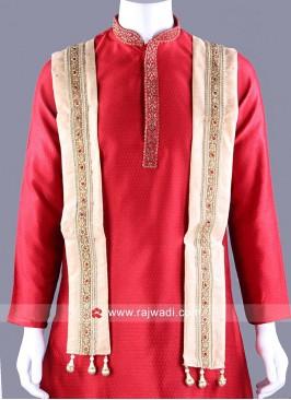 Art Silk Golden Dupatta with Latkan