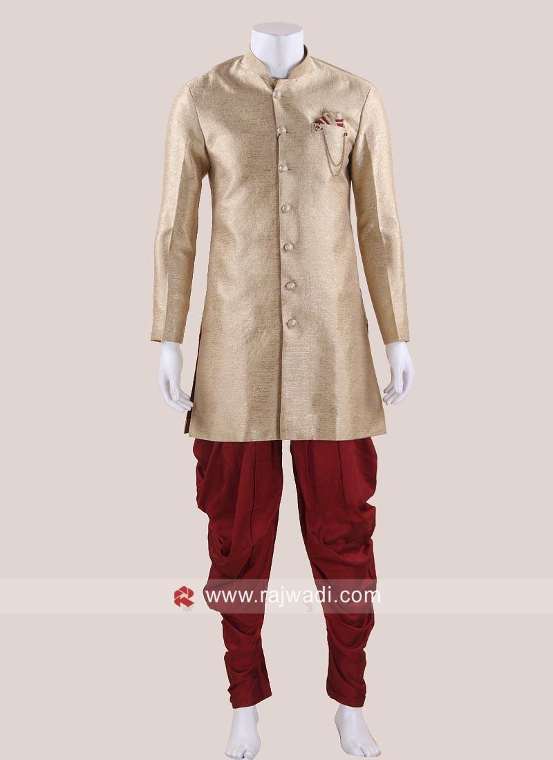 Art Silk Golden Indo Western