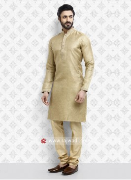 Art Silk Golden Kurta Pajama