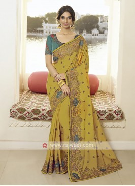 Art Silk Golden Yelllow Saree