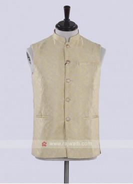 art silk golden yellow nehru jacket