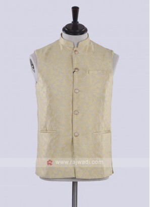 art silk golden yellow nehru jacket