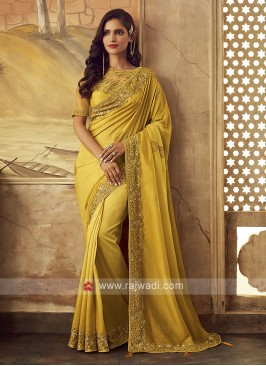 Art Silk Golden Yellow Party Wear Saree