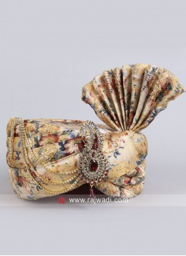 Art Silk Golden Cream Safa