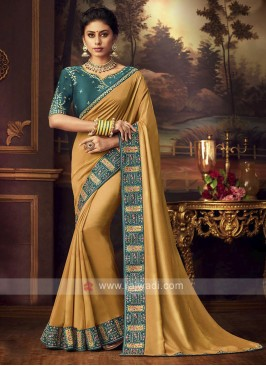 Art Silk Golden Yellow Saree