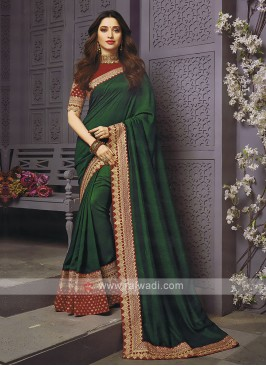 Art Silk Green Designer Saree