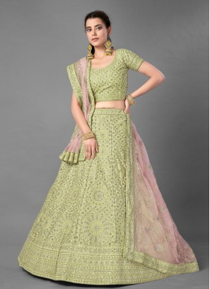 Art Silk Green Embroidered Bollywood Lehenga Choli