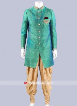 Art Silk Green Indo Western For Mens