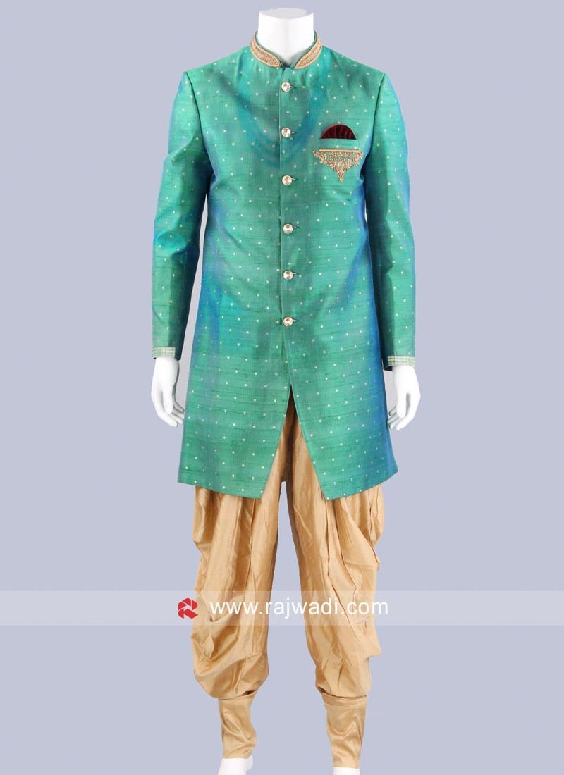 Art Silk Green Indo Western For Mens