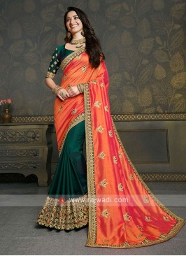 Art Silk Green & Orange Saree