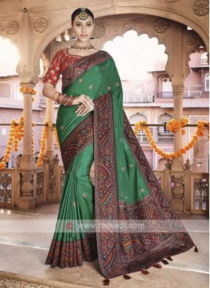 Art Silk Green Saree