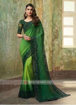 Art Silk Green Shaded Saree