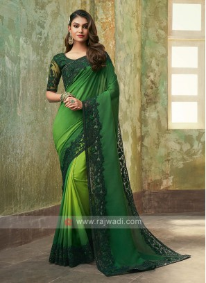Art Silk Green Shaded Saree