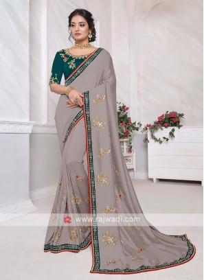 Art Silk Grey Color Saree