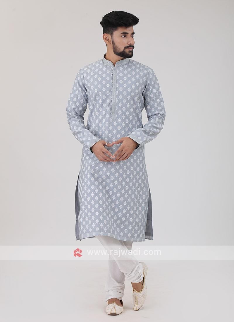 Art Silk Grey Kurta Pajama