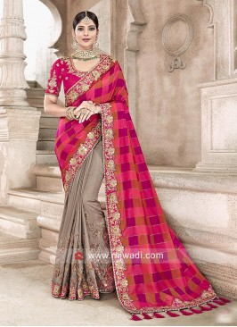 Art Silk Half n Half Checks Saree