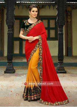 Art Silk Half n Half Saree with Velvet Blouse