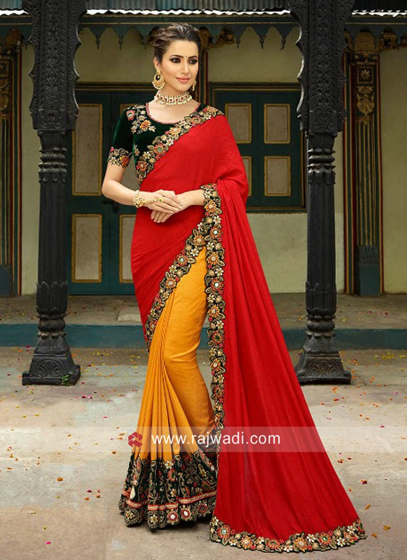 Art Silk Half n Half Saree with Velvet Blouse