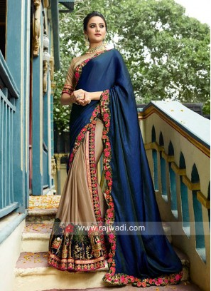 Art Silk Half n Half Wedding Saree