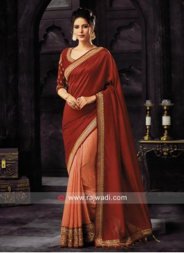 Art Silk Half Saree in Maroon and Peach