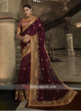 Art Silk Heavy Saree with Raw Silk Blouse