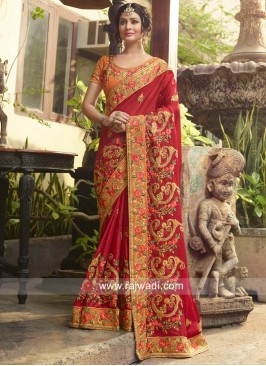 Art Silk Heavy Work Reception Saree