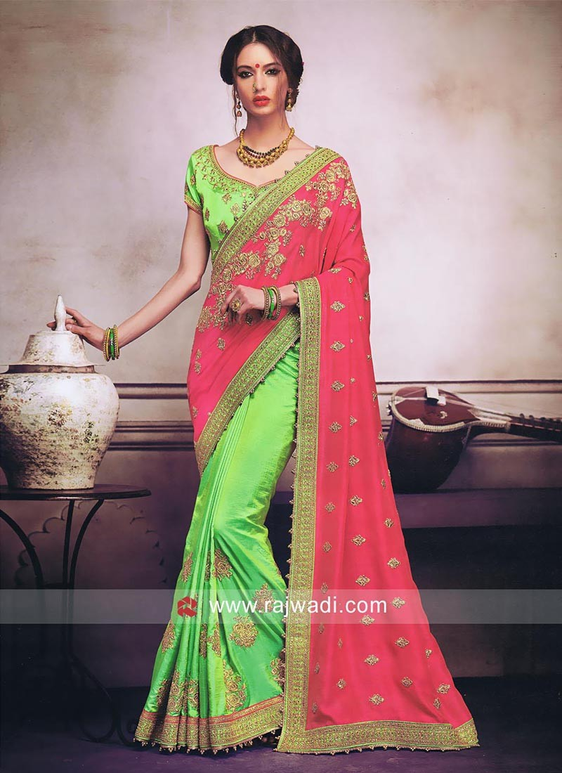 Art Silk Hlf n Half Saree
