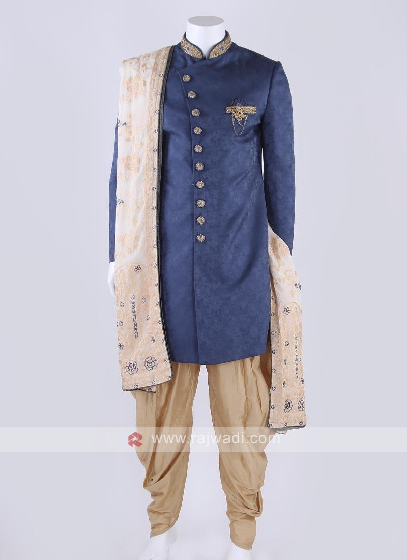 Art silk indo-western in blue color