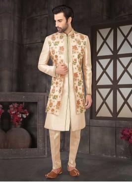 Art Silk Indo-Western In Golden