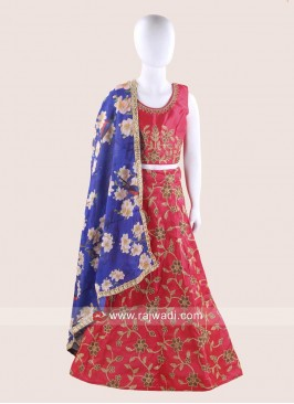 Art Silk Kids Chaniya Choli for Garba