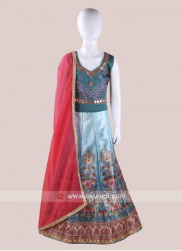 Art Silk Kids Foil Print Chaniya Choli