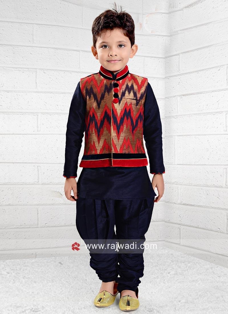 Art Silk Kids Nehru Jacket with Buttons