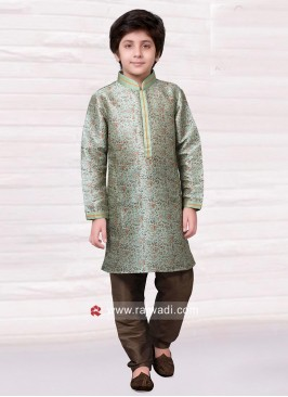 Art Silk Kids Printed Kurta Pajama